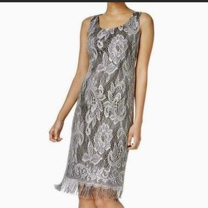 NWT Silver Flapper Lace Fringe Cocktail Midi Dress
